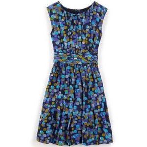 BODEN Blue Green Yellow Dotted Selina Dress Size 6